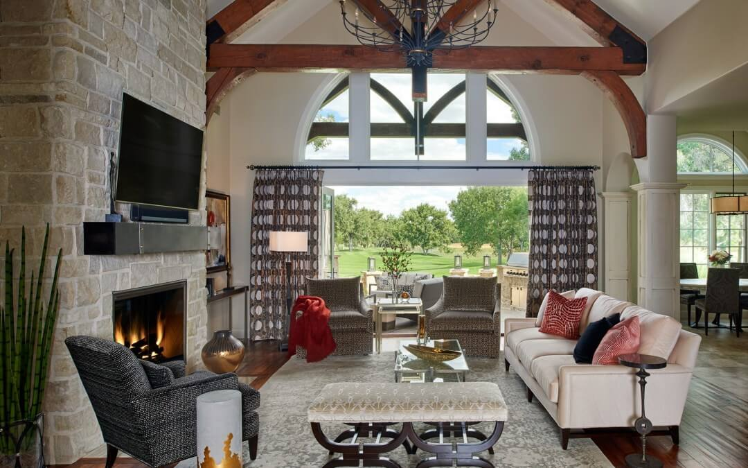 Middleton living room, pam, open beams, fireplace
