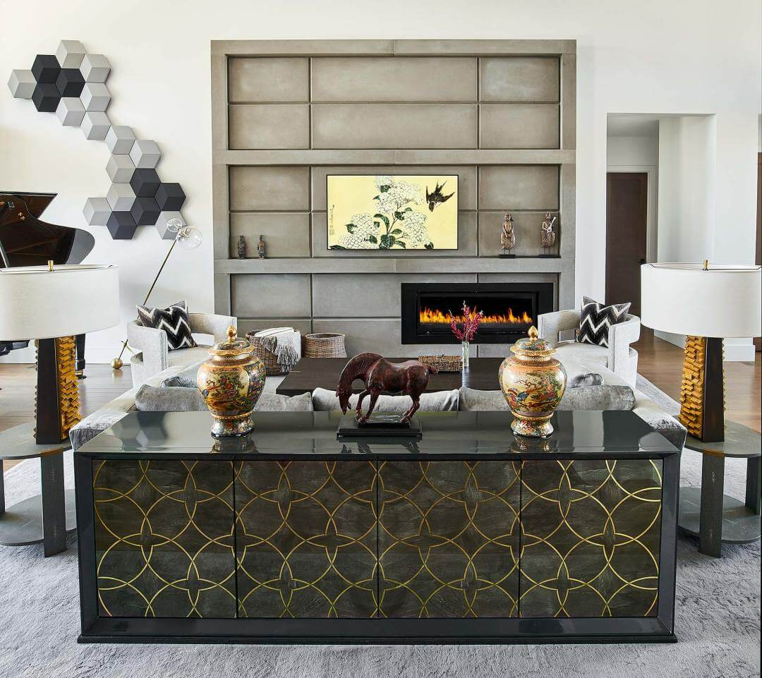 Custom Home in Colorado Golf Club with a dynamic view straight down to Pike's Peak, greg, living room