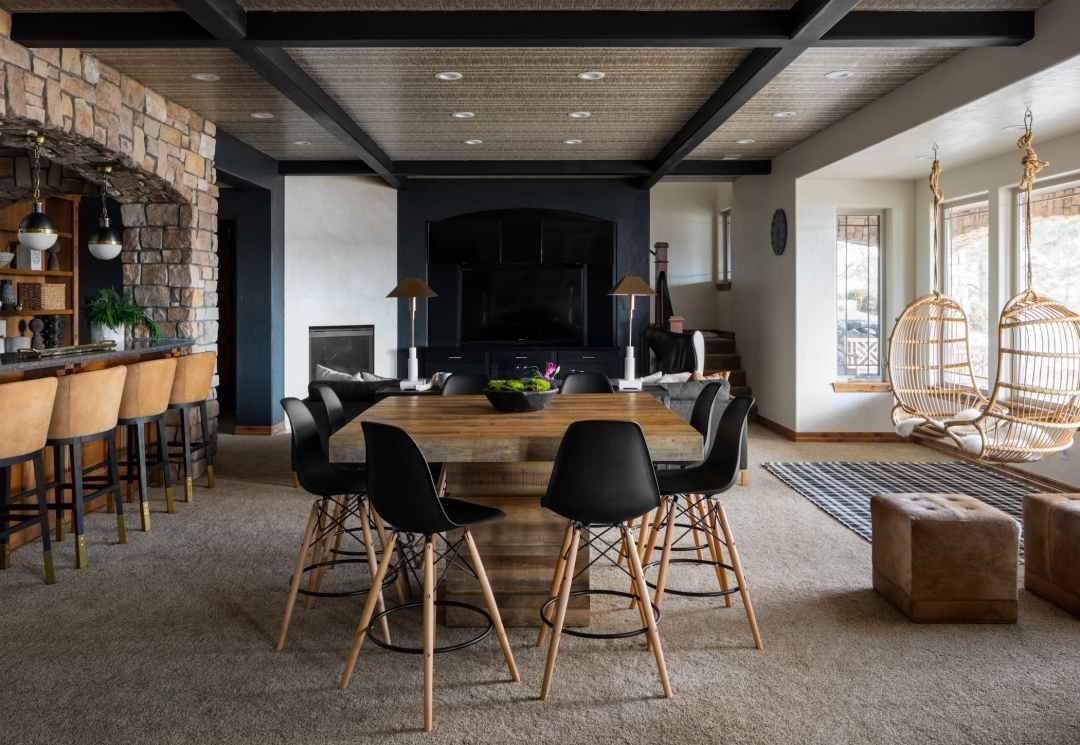 Fischer, Julee Jordening Wray, Truss Interiors, basement, high top table