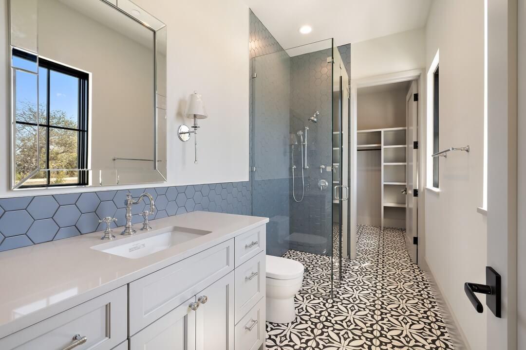 Lenore, lake austin, design a spec home, contemporary home, bath