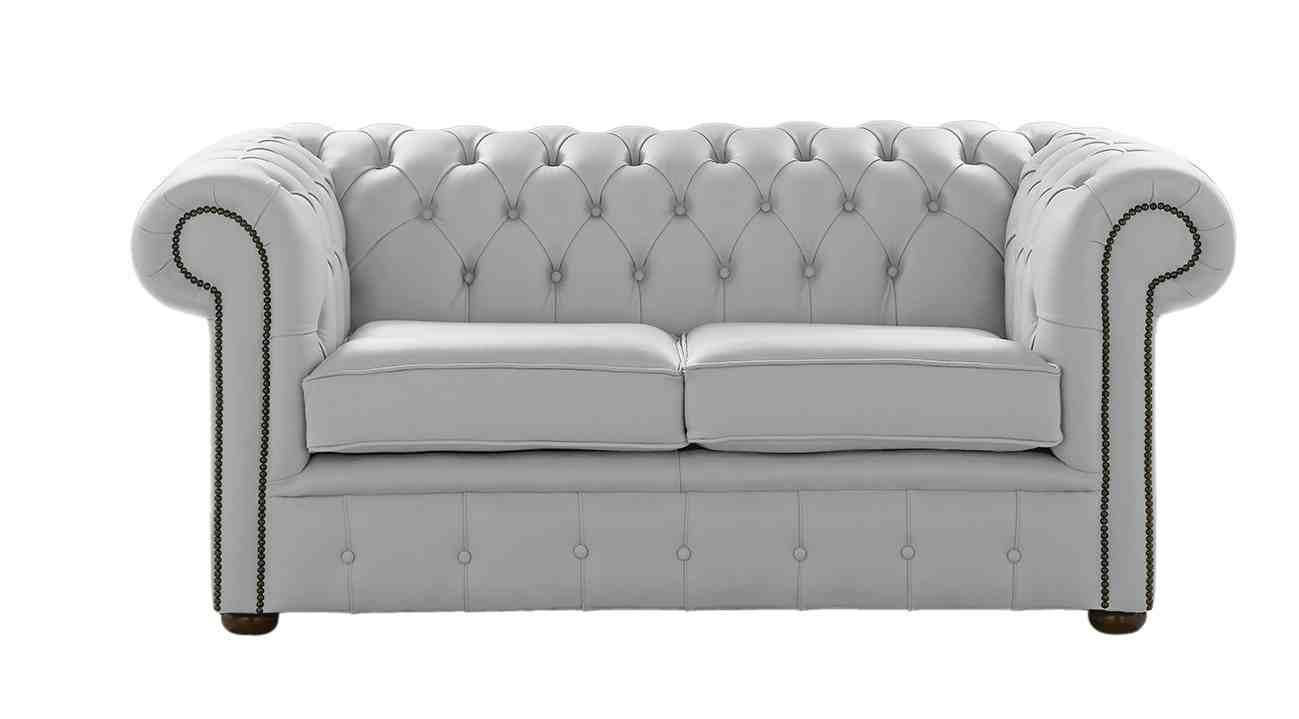 Designersofas4u Silver Grey Leather Chesterfield Sofa