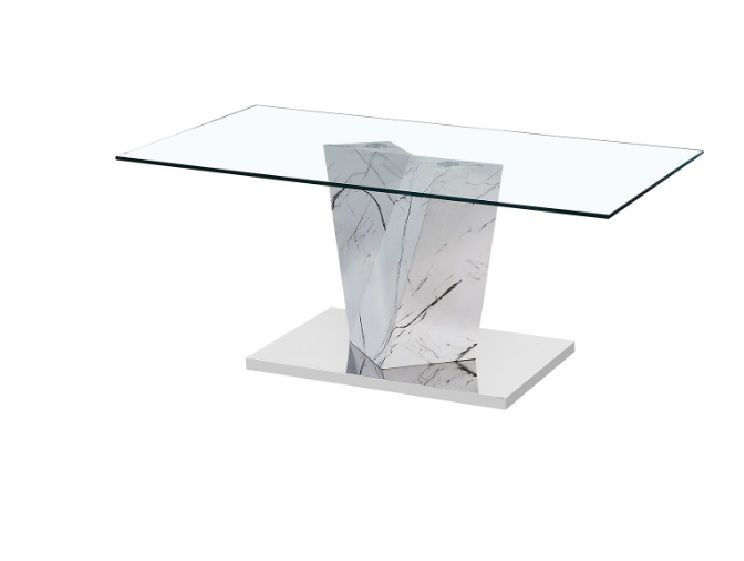 abree glass top coffee table with marble effect stand and steel metal base