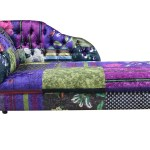Chesterfield Patchwork London Velvet Chaise Lounge Day Bed
