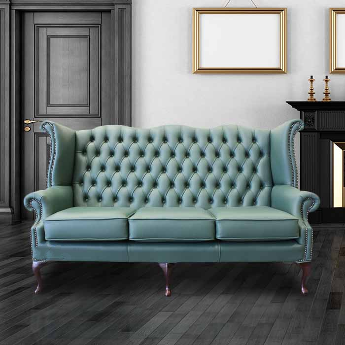 jade green leather chesterfield 3 seater high back wing sofa designersofas4u