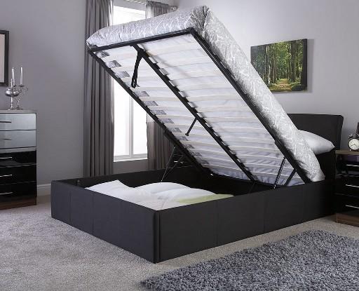 ascot kingsize black fabric storage bedstead