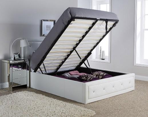hollywood diamante double ottoman storage bed white faux leather