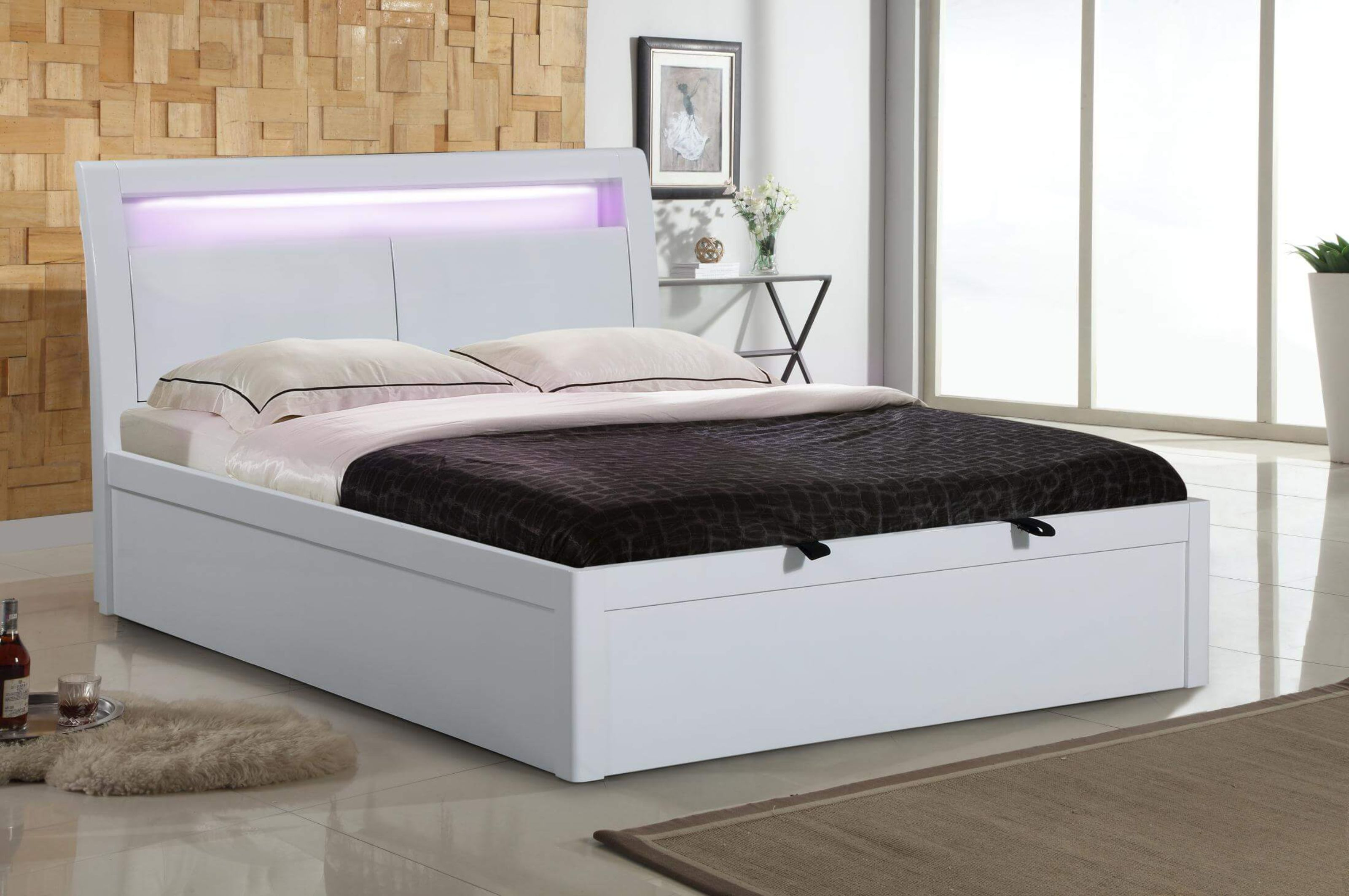 Paulina White High Gloss Double Storage Bed Designer Sofas4u