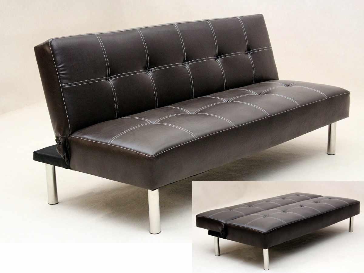 Torberta 3 Seater Faux Leather Pvc Sofa Bed With Chrome Legs Designer Sofas4u