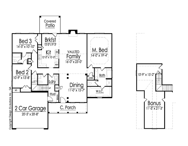 Kaplan house plan 2 142 sq ft 3 bedroom 2 5 bath for Continental homes floor plans