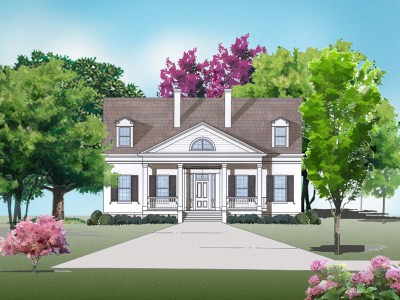 Twin Oaks house plan rendering