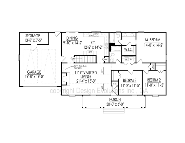 Carolyn floor plan with basement foundation