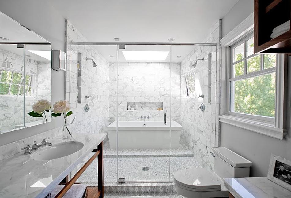 salle de bain marbre blanc pour