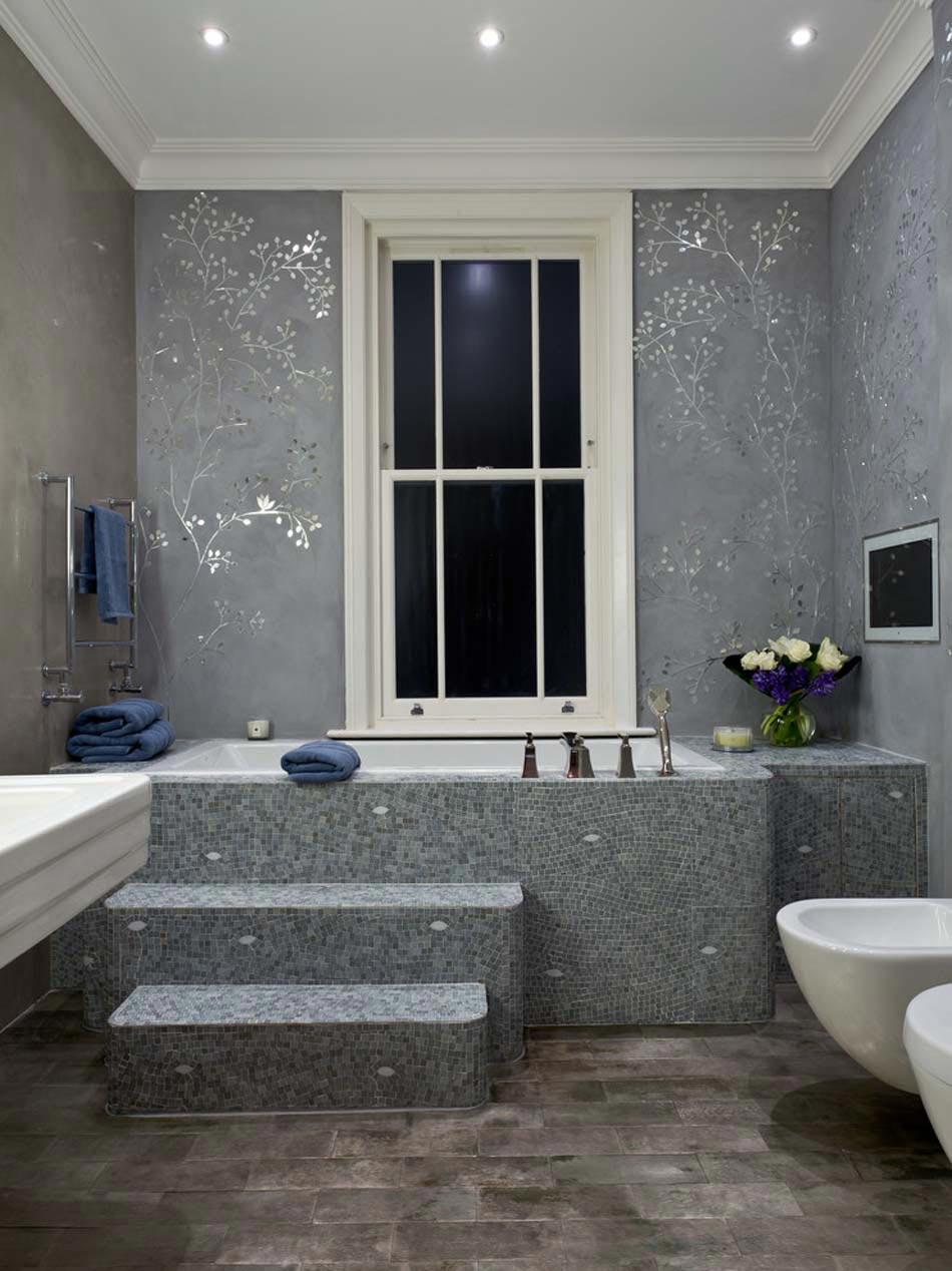 papier peint salle de bain offrant la