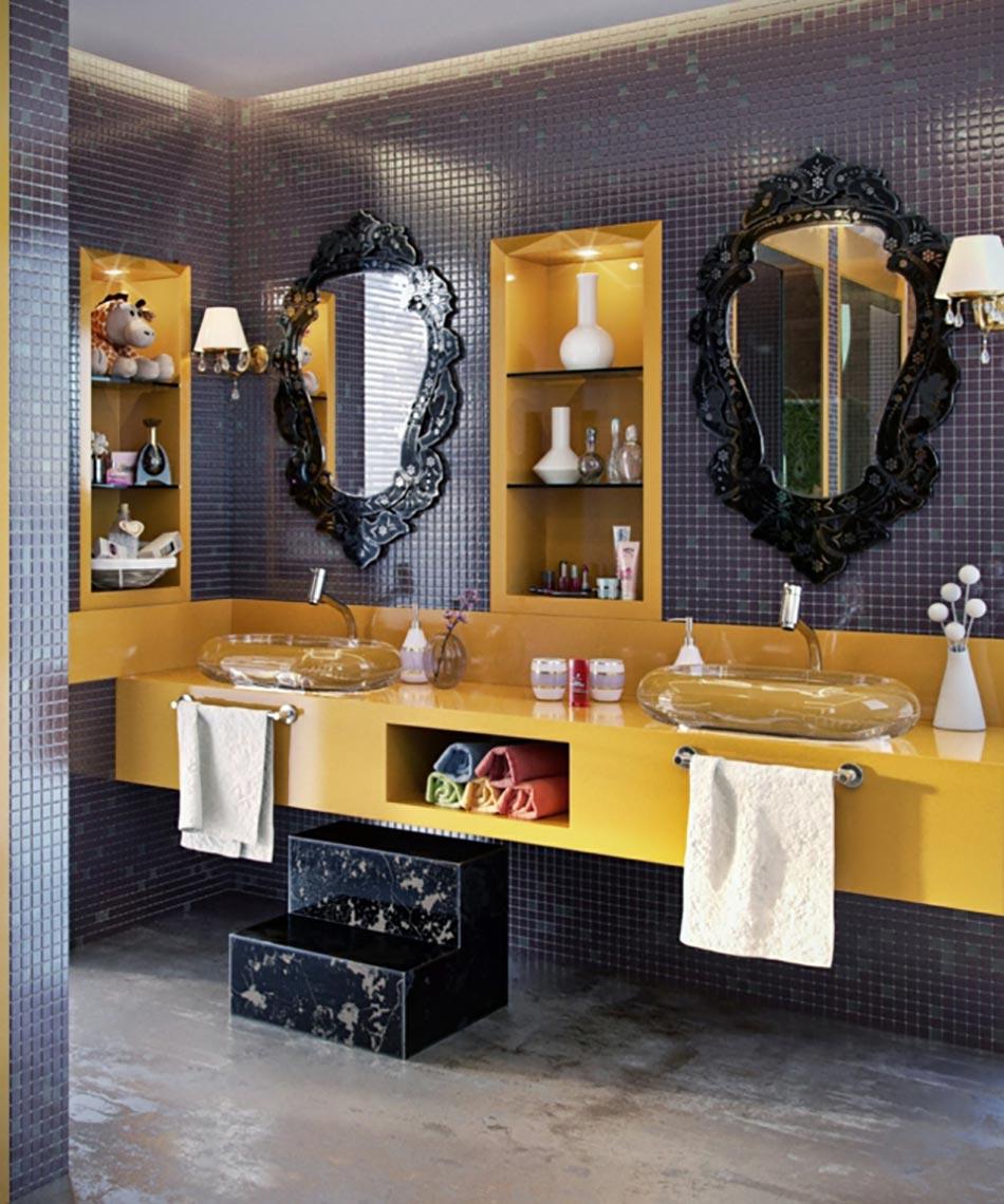 salle de bain jaune et gris bright