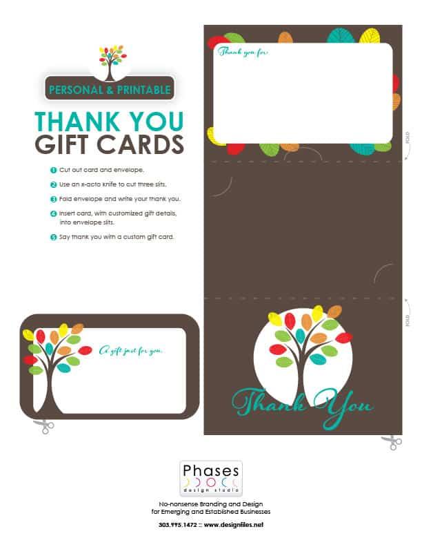 Custom Printable Gift Cards | Phases Design Studio