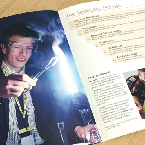 blue coat school prospectus design