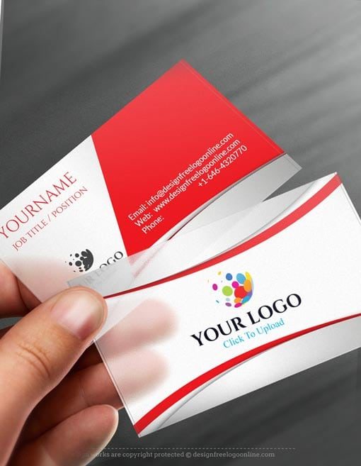 Free Business Card Maker 3D Red Business card Template