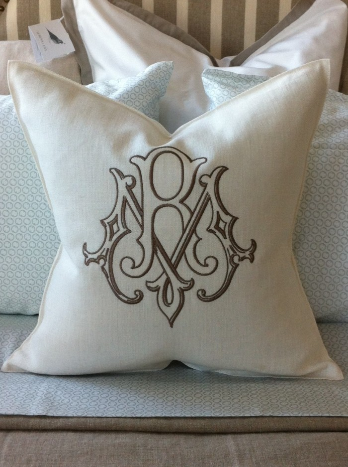Libeco Monogramed Pillow from Number Four Eleven
