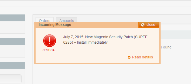 Critical Patch Warning in Magento