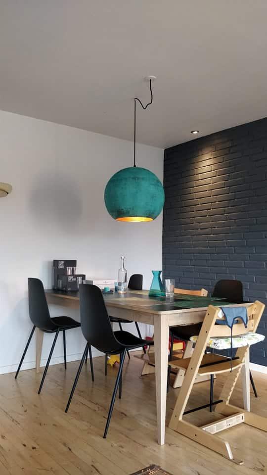 Glad kunde fra Jylland har købt Bali lampe i oxideret grøn i Ø50