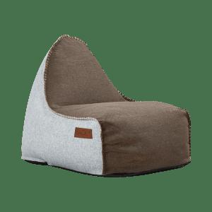 Sækkestol i brun og hvid