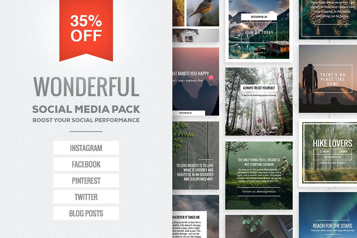 Wonderful Social Media Pack For Instagram Facebook Twitter And Blog Headers