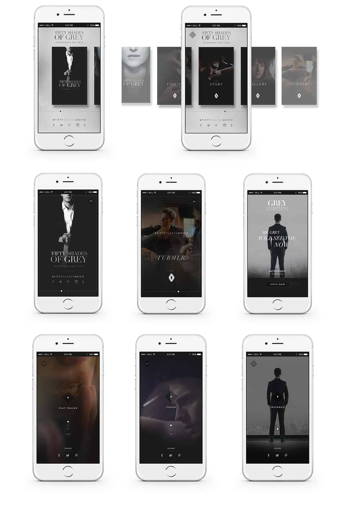 fifty shades of grey website by keith evans design ideas as for inspiration i can t really explain it there are so many talented people putting out amazing work there is just something about certain designers