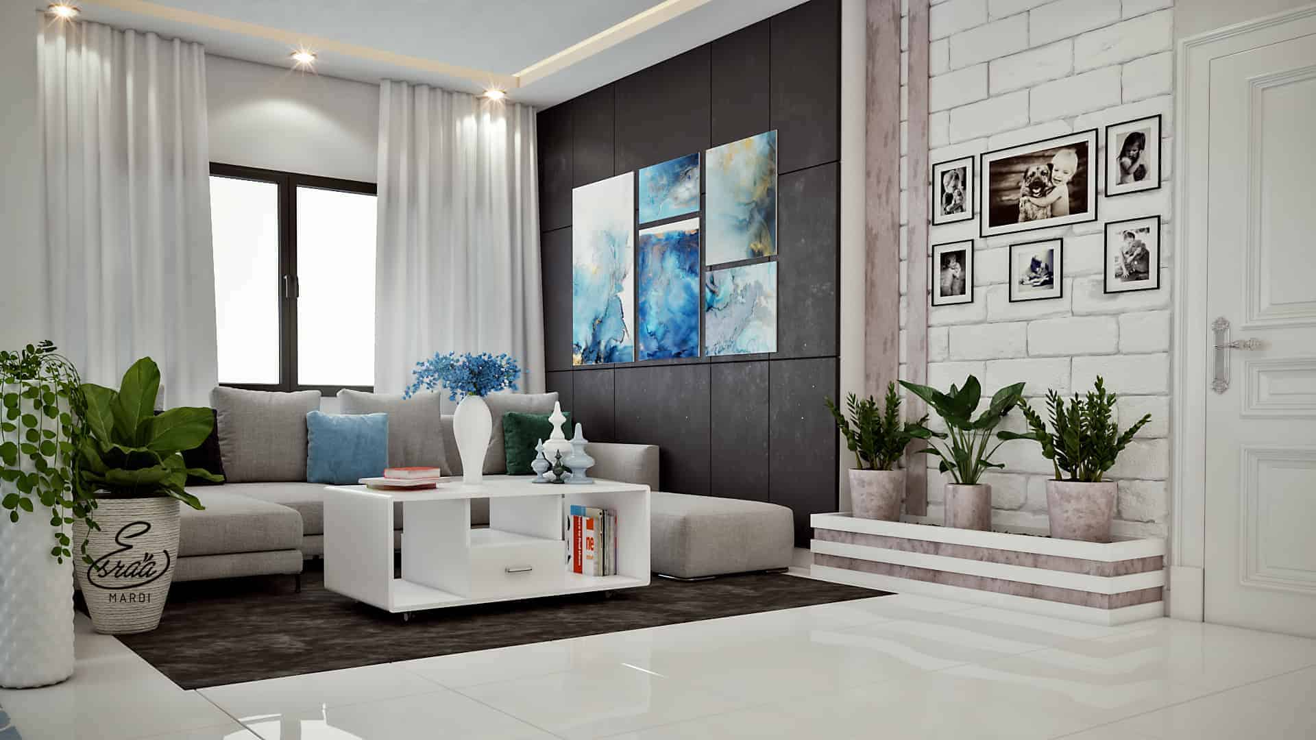 This Modern Room Style Using Simple Color Just White And Blue Not To Many The Contrast Combination With Sky Colors Does Look Cold