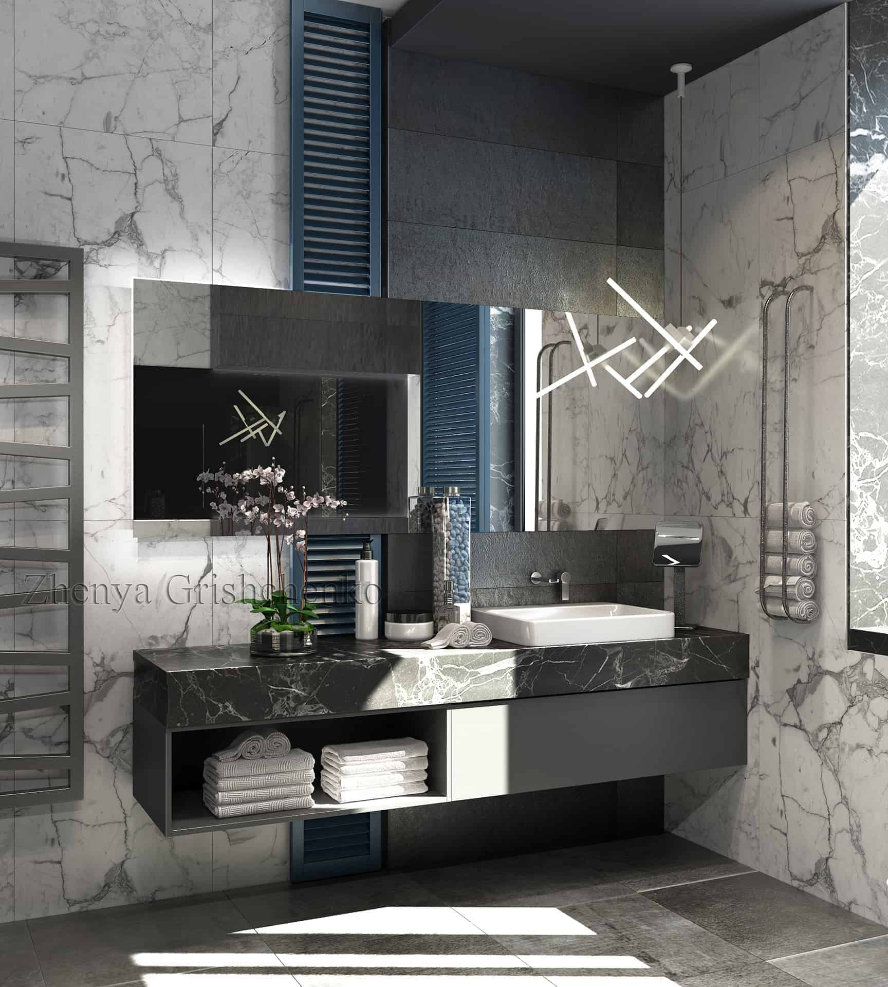 A Waterfall With Illumination Behind The Glass An Unusual Form Of Chandelier And White Marble Made This Project Favorite In Instagram