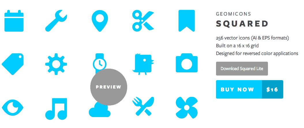 ตัวอย่าง Icon Font ซึ่งมีทั้งแบบแจกฟรีและเสียเงิน
