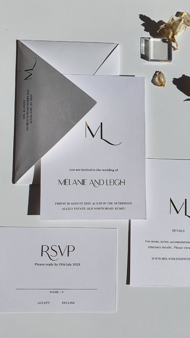 NZ wedding invitation suite featuring an elegant modern monogram with couples initials M+L in black and white