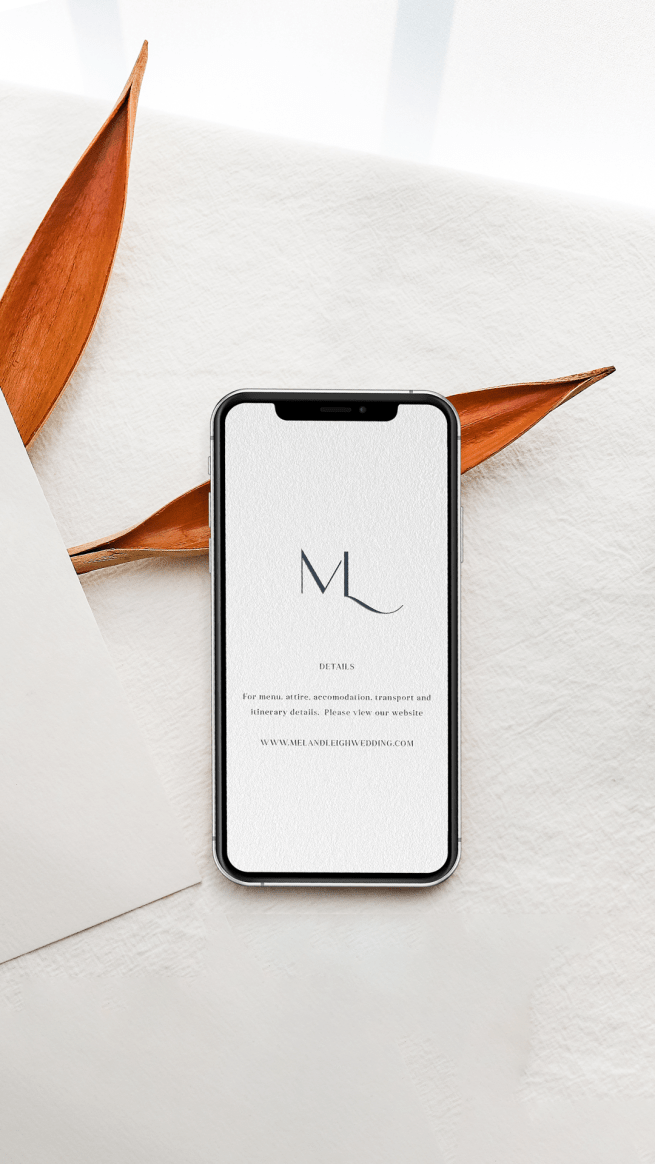 Digital Wedding Details Card for sms, imessenger, whatsapp featuring an elegant monogram with the wedding couples initials M+L