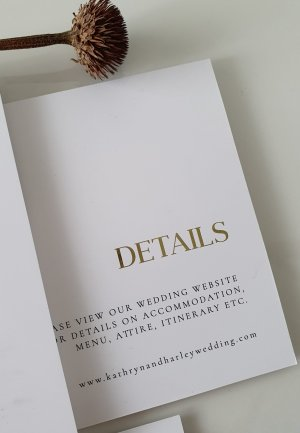 Bold simple typographical style wedding details card design