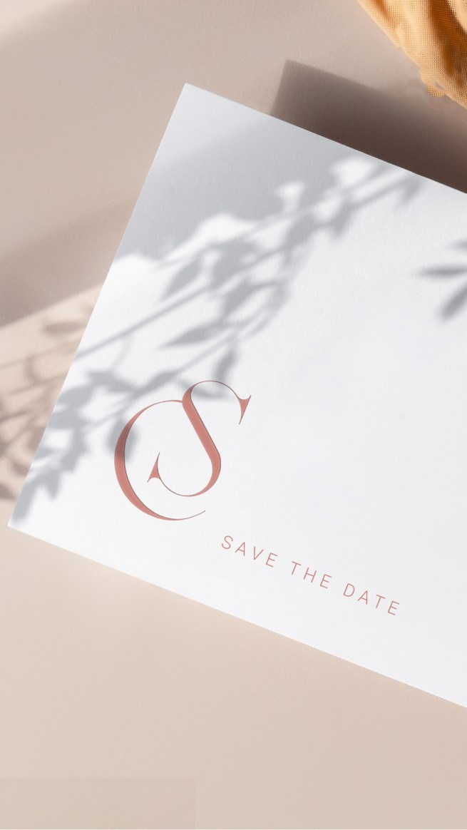 wedding inspiration for a blush wedding monogram feature on a minimalist save the date wedding card