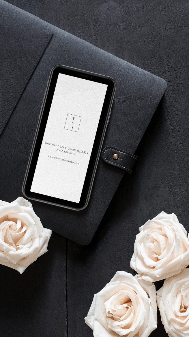 Digital Wedding RSVP Card for imessenger, whatsapp and text wedding celebrations with monogram featuring initials T+J