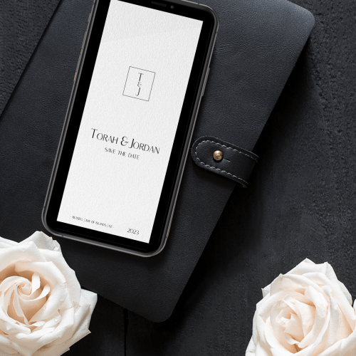 digital semicustom wedding save the date card with monogram featuring initials T&J