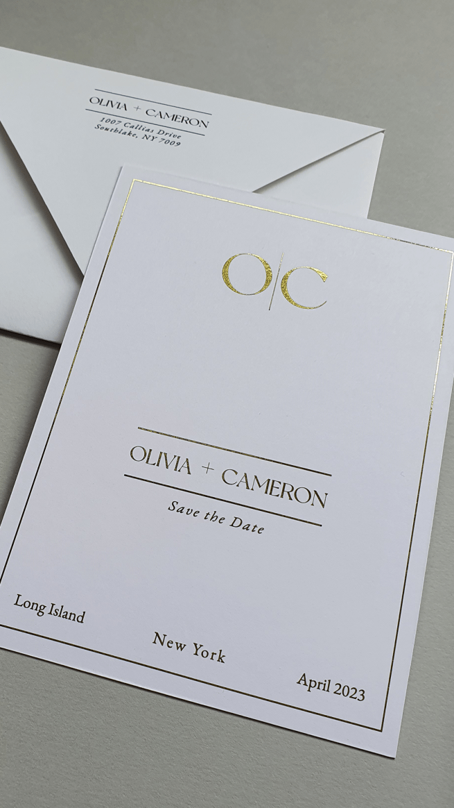 semi-custom wedding invitation suite featuring the save the date with monogram printed in gold foil on white cardstock