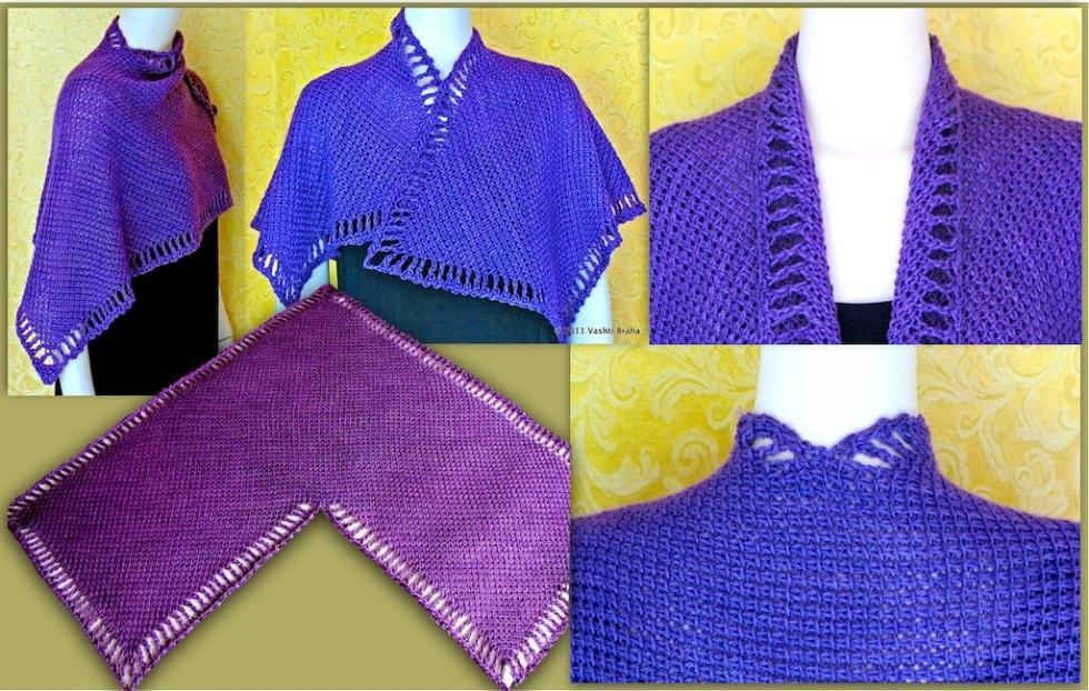 5 views of Five Peaks Tunisian Crochet shawl