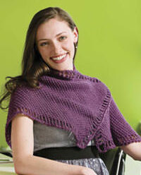 The Five Peaks Shawl with Tunisian eyelet border.