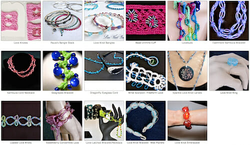 Ravelry gallery of my 17 beaded love knot projects