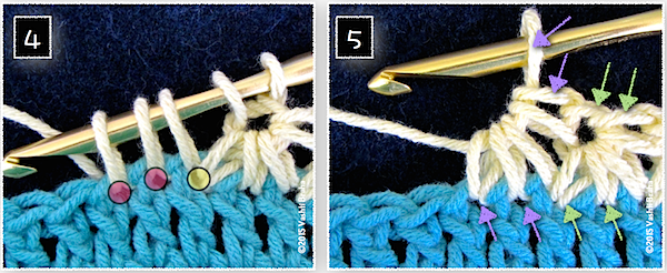 Two red dots (image #4) indicate the two next stitches of the row to crochet the new star stitch into. Image #5 identify what the stitch loops become in a completed star vs while a star in progress.