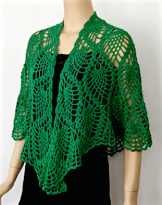 Larger wrap size of DJC Curaçao Wrap in Emerald Deep Lotus yarn