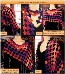 Mamruana crochet strips in other wearable shapes and striping.