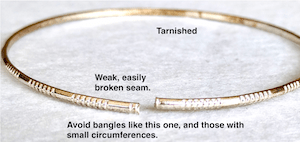 Example of a bangle blank to avoid. This one readily tarnishes, and its weak soldered seam has snapped open.