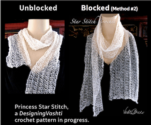 An antique, translucently lacy star stitch before blocking and after.