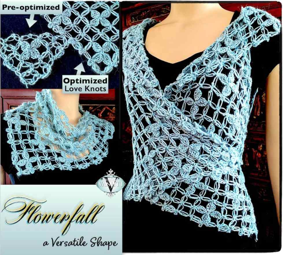 Views of vest and its unique Love Knot stitch pattern for Flowerfall Crochet Class by Vashti Braha