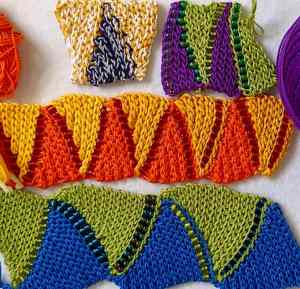 Four swatches of two-color flat bead crochet