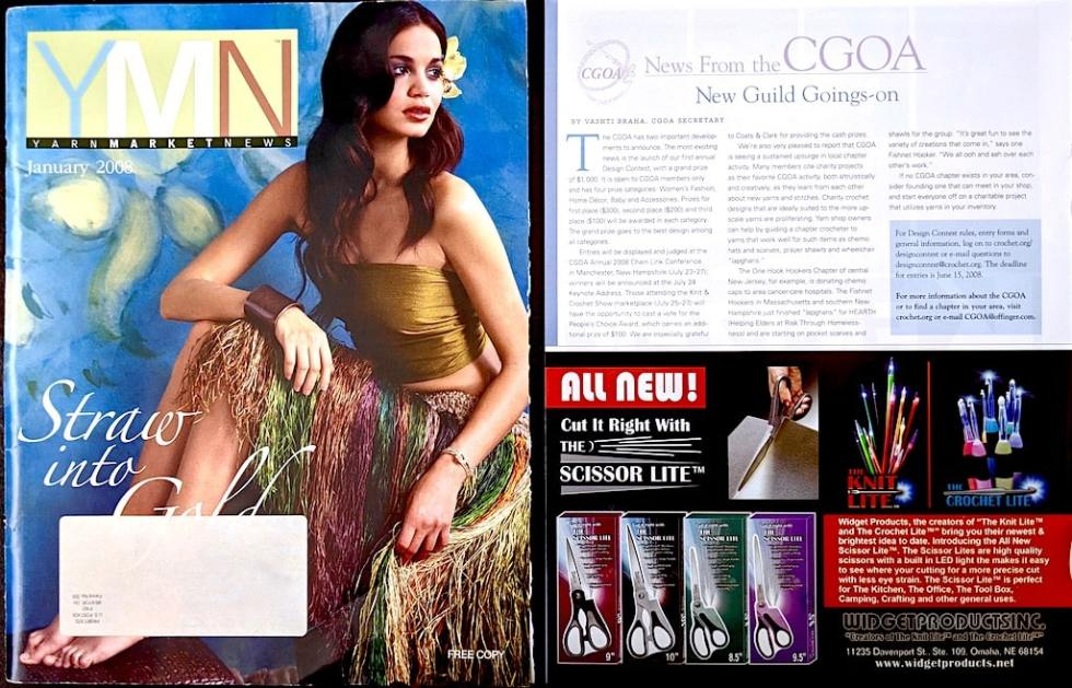 "January 2008 Yarn Market News cover and ""News from the CGOA"" column page on the CGOA design contest and local chapters"