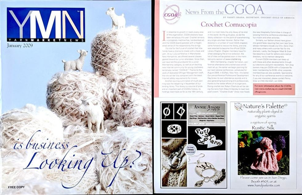 "January 2009 Yarn Market News cover and ""News from the CGOA"" 500-word column page on the growth of CGOA events."