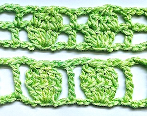 Crochet two rows at once to convert the upper filet-and-cluster-stitch example to the one row version below. Now it's free of connecting lines between each stitch and the whole cluster faces the front.